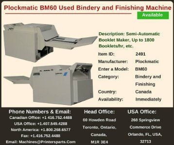 Buy Used Plockmatic BM60 Bindery and Finishing Machine