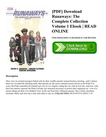 [PDF] Download Runaways: The Complete Collection Volume 1 Ebook | READ ONLINE