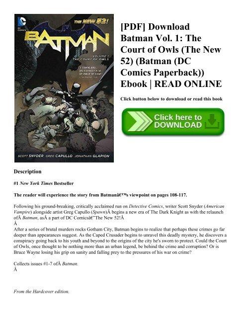 [PDF] Batman Vol 1 The Court Of Owls The New 52 Download ...