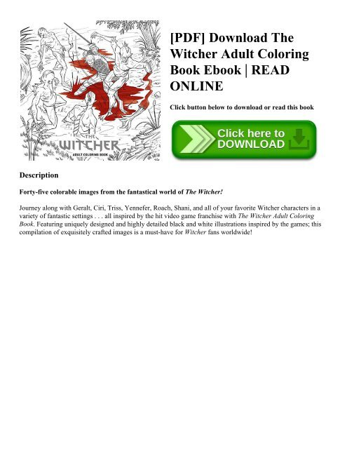 PDF] Download The Witcher Adult Coloring Book Ebook | READ ...