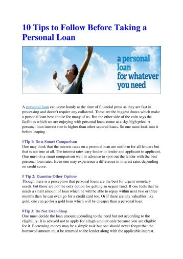 10 Tips to Follow Before Taking a Personal Loan