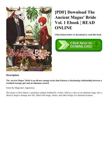 [PDF] Download The Ancient Magus' Bride Vol. 1 Ebook | READ ONLINE