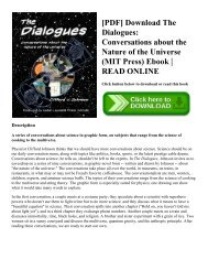 [PDF] Download The Dialogues: Conversations about the Nature of the Universe (MIT Press) Ebook | READ ONLINE