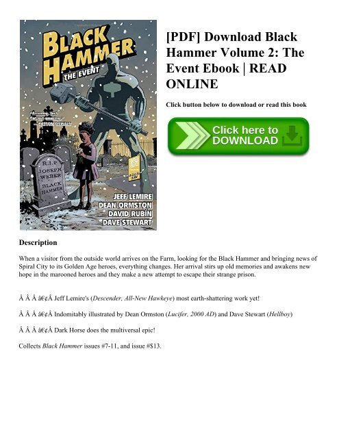 PDF] Download Black Hammer Volume 2: The Event Ebook | READ