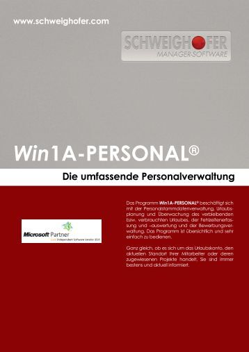 Win1A-PERSONAL® - SCHWEIGHOFER Manager