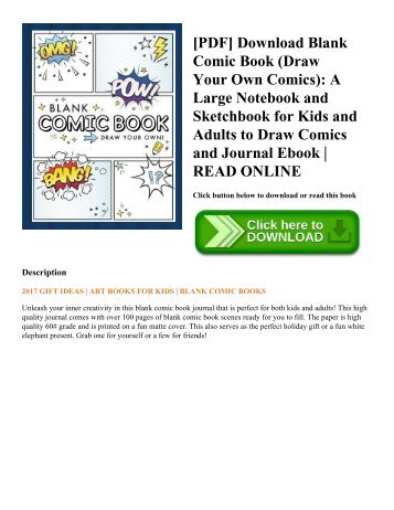 [PDF] Download Blank Comic Book (Draw Your Own Comics): A Large Notebook and Sketchbook for Kids and Adults to Draw Comics and Journal Ebook | READ ONLINE