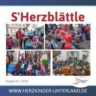 S´Herzblättle - Herzkinder Unterland e.V. Mitgliederzeitschrift - Ausgabe 01/2018