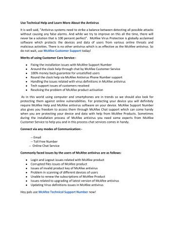 McAfee Antivirus Customer Service +1-855-536-5777 Number