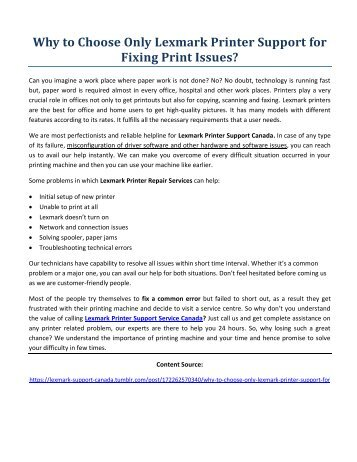 Why to Choose Only Lexmark Printer Support for Fixing Print Issues