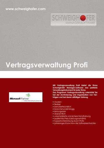 Vertragsverwaltung Profi - SCHWEIGHOFER Manager
