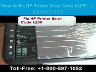 Dial +1-800-597-1052 Fix HP Printer Error Code k209 | For HP Printer