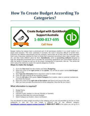 How To Create Budget According To Categories?