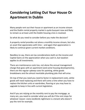 Considering Letting Out Your House Or Apartment In Dublin