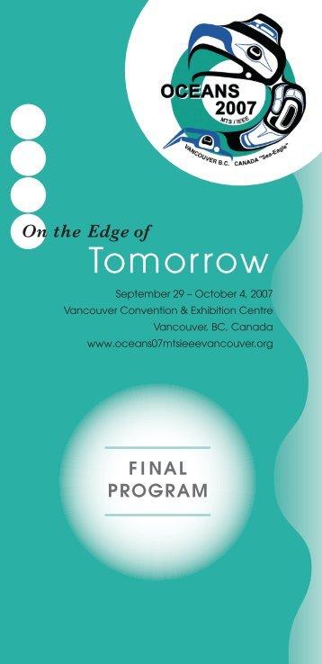 Final Program - Oceans 2007 MTS/IEEE Vancouver