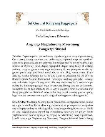 Ang mga Nagtuturong Maestrong Pang-espirituwal