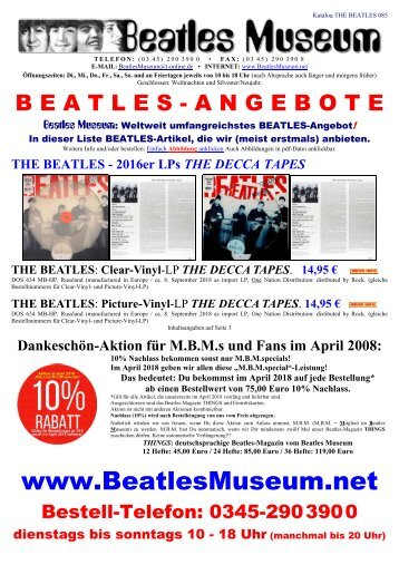 Beatles Museum - Katalog 85 mit Hyperlinks