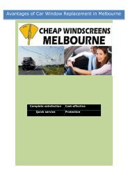 Avantages of Car Window Replacement in Melbourne