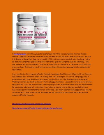 Trulife Forskolin - Review