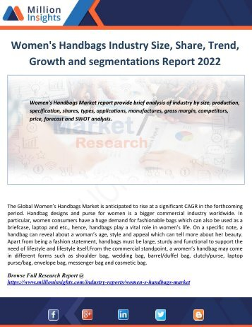 Women's Handbags Industry Size, Share, Trend, Growth and segmentation Report 2022