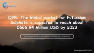 QYR: The Global market for Potassium Sulphate is expected to reach about 5666.94 Million USD by 2023