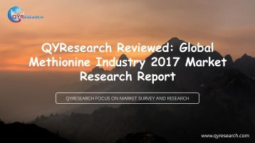 QYResearch Reviewed: Global Methionine Industry 2017 Market Research Report