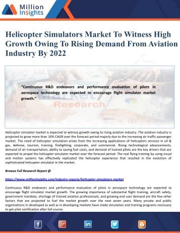 Helicopter Simulators Market To Witness High Growth Owing To Rising Demand From Aviation Industry By 2022