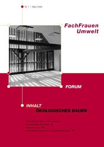 Forum 1 / 2006 - FachFrauen Umwelt