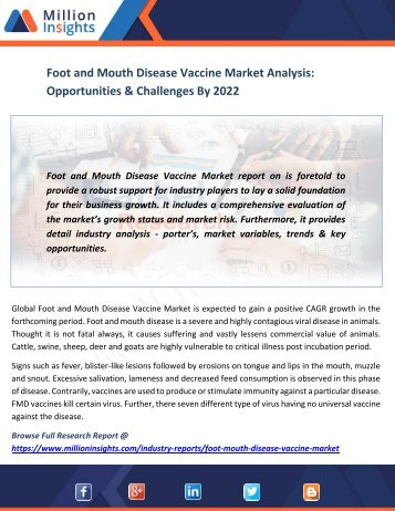 Foot and Mouth Disease Vaccine Market Analysis Opportunities & Challenges By 2022