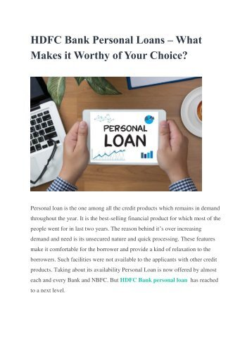HDFC Bank Personal Loans – What Makes it Worthy of Your Choice