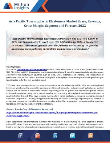 Asia Pacific Thermoplastic Elastomers Market Share, Revenue, Gross Margin, Segment and Forecast 2022