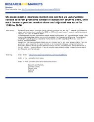 US ocean marine insurance market size and top 25 underwriters ...