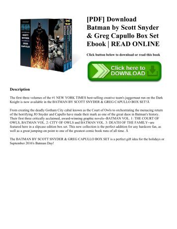 [PDF] Download Batman by Scott Snyder & Greg Capullo Box Set Ebook | READ ONLINE