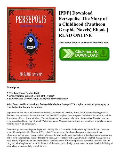 Pdf Download Persepolis The Story Of A Childhood Pantheon Graphic Novels Ebook Read Online