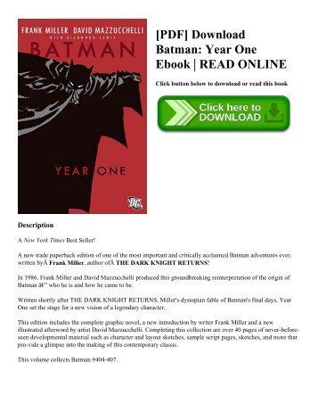 [PDF] Download Batman: Year One Ebook | READ ONLINE
