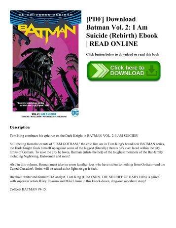 [PDF] Download Batman Vol. 2: I Am Suicide (Rebirth) Ebook | READ ONLINE