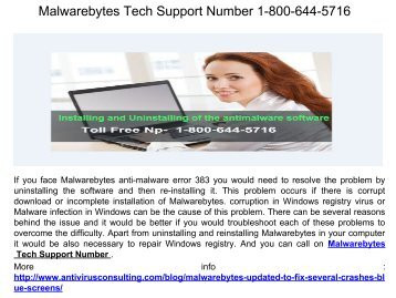 Malwarebytes Tech Support Number 1-800-644-5716