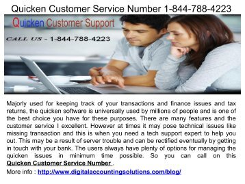 Quicken Customer Service Number 1-844-788-4223
