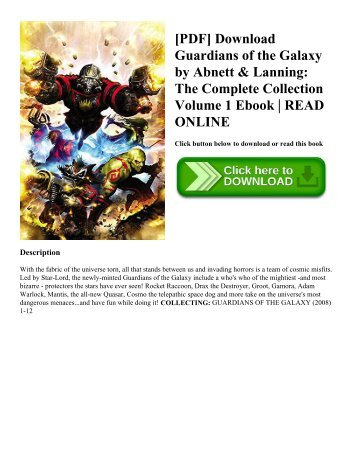 [PDF] Download Guardians of the Galaxy by Abnett & Lanning: The Complete Collection Volume 1 Ebook | READ ONLINE