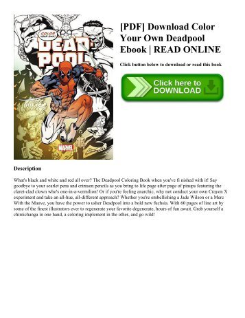 [PDF] Download Color Your Own Deadpool Ebook | READ ONLINE