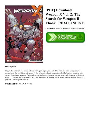 [PDF] Download Weapon X Vol. 2: The Search for Weapon H Ebook | READ ONLINE