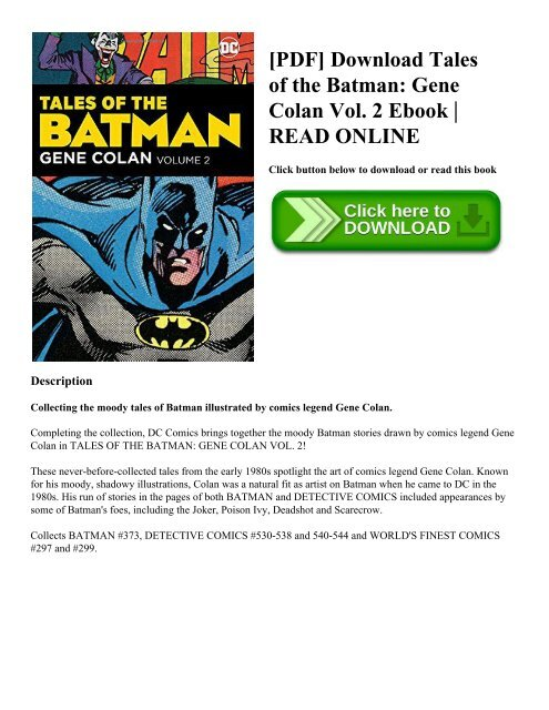 PDF] Download Tales of the Batman: Gene Colan Vol  2 Ebook | READ ONLINE