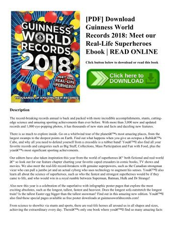 Pdf download guinness world records 2018 meet our real life pdf download guinness world records 2018 meet our real life superheroes ebook read online fandeluxe Choice Image