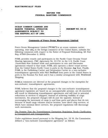 Fesco Ocean Management Limited - Federal Maritime Commission