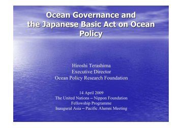 Ocean Governance and the Japanese Basic Act on Ocean Policy