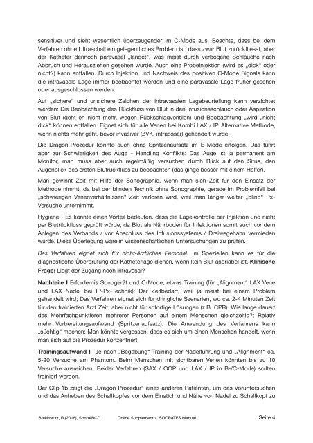 Dragon Procedure & Sonographie und Punktion Peripherer Venen - Online Supplement zum SOCRATES Kursmanual 2019