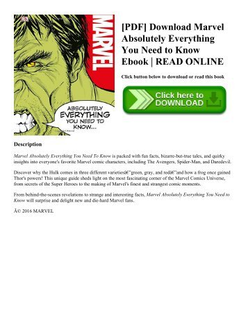 [PDF] Download Marvel Absolutely Everything You Need to Know Ebook | READ ONLINE