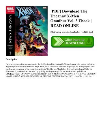 [PDF] Download The Uncanny X-Men Omnibus Vol. 3 Ebook | READ ONLINE