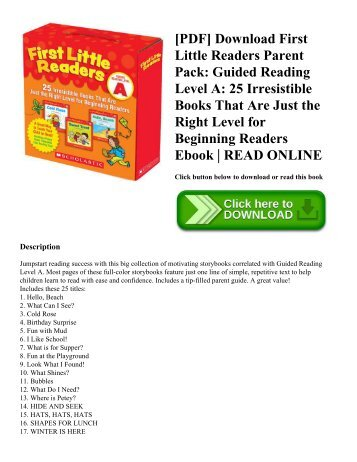 [PDF] Download First Little Readers Parent Pack: Guided Reading Level A: 25 Irresistible Books That Are Just the Right Level for Beginning Readers Ebook | READ ONLINE