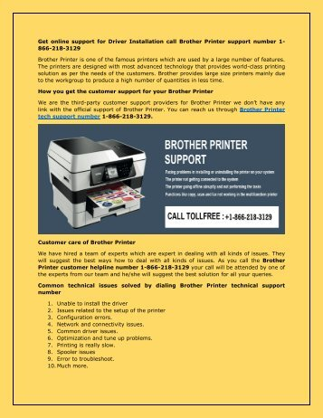 Brother Printer customer 1-866-218-3129 support number