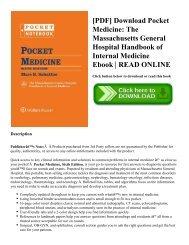 [PDF] Download Pocket Medicine: The Massachusetts General Hospital Handbook of Internal Medicine Ebook   READ ONLINE